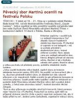 Pěvecký sbor Martinů ocenili na festivalu v Polsku