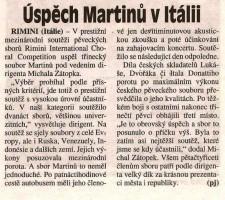 Úspěch Martinů v Itálii