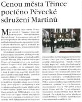 Cenou mesta Třince poctěno Pěvecké sdružení Martinů