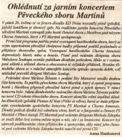 Ohlédnutí za jarním koncertem Pěveckého sboru Martinů