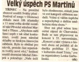 Velký úspěch PS Martinů
