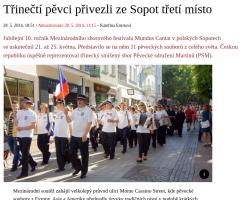 Třinečtí pěvci přivezli ze Sopot třetí místo