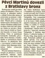 Pěvci Martinů dovezli z Bratislavy bronz