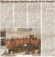 Pěvecké sdružení Martinů oslavilo 55 let činnosti