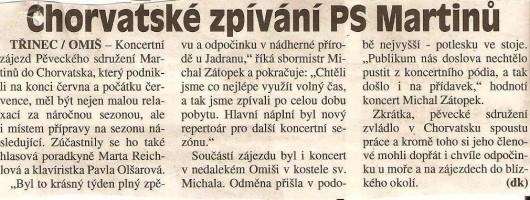Chorvatské zpívání PS Martinů