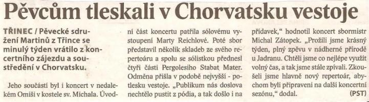 Pěvcům tleskali v Chorvatsku vestoje