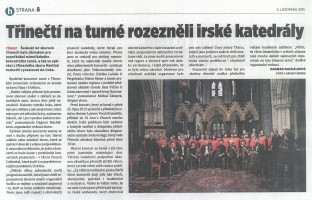 Třinečtí na turné rozezněli irské katedrály
