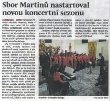 Sbor Martinů nastartoval novou koncertní sezonu