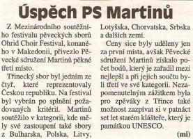Úspěch PS Martinů