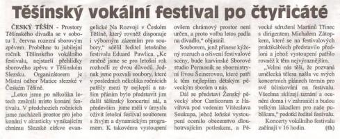 Těšínský vokální festival po čtyřicáté