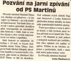 Pozvání na jarní zpívání od PS Martinů