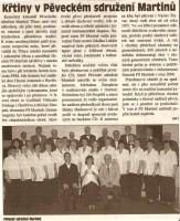 Křtiny Pěveckého sdružení Martinů