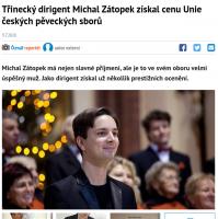 Třinecký dirigent Michal Zátopek získal cenu Unie českých pěveckých sborů