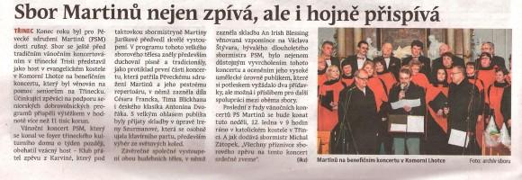 Sbor Martinů nejen zpívá, ale i hojně přispívá