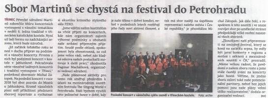 Sbor Martinů se chystá na festival do Petrohradu