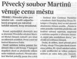 Pěvecký sbor Martinů věnuje cenu městu