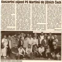 Koncertní zájezd PS Martinů do jižních Čech