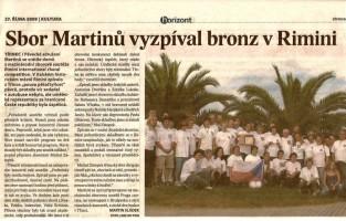Sbor Martinů vyzpíval bronz v Rimini